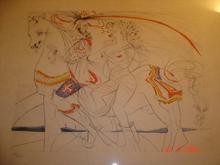 Salvador DALI - Grabado - DIANE DE POITIERS- superbe estampe aquarellée