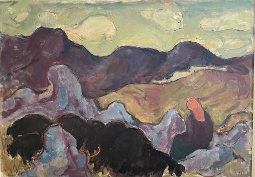 Jakob STEINHARDT - Pintura - Shepherd with flock