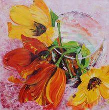 Nadine PILLON - Painting - LE TEMPS D UN BOUQUET