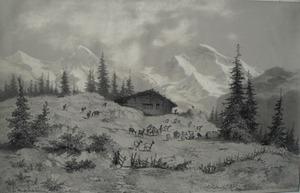 François Louis Fritz DE NIEDERHÄUSERN - Dibujo Acuarela - Eiger Mönch et Jungfrau