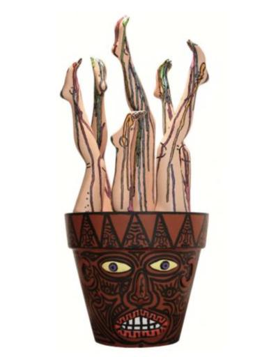 Robert COMBAS - Sculpture-Volume - Le Pot de Jambes en Bouquet de Pieds et de Mollet