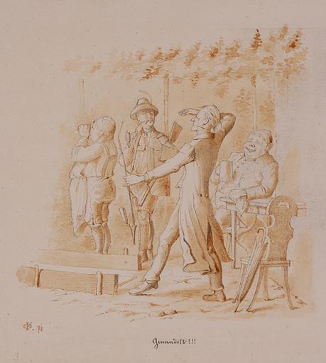 """Victor ODESCALCHI - Disegno Acquarello - Prince Viktor Odescalchi, """"Playing Skittles"""""""
