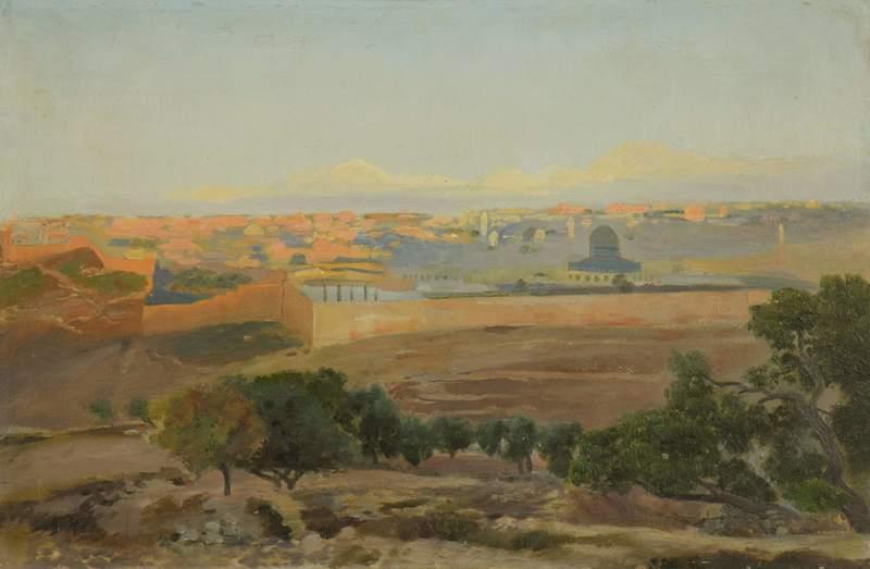Gustav BAUERNFEIND - Painting - Blick auf Jerusalem vom Ölberg aus