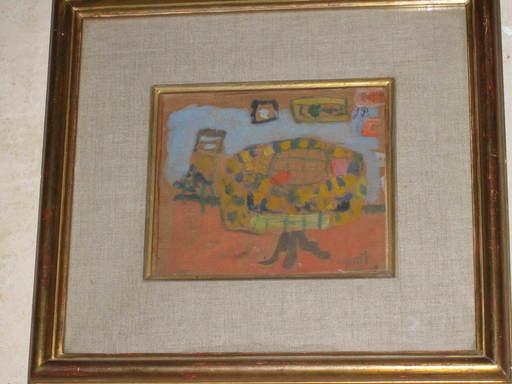Jean POUGNY - Painting - table et tapisserie