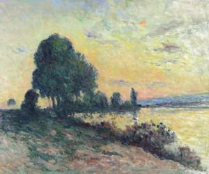 Maximilien LUCE, Les bords de Seine à Rolleboise au crépuscule