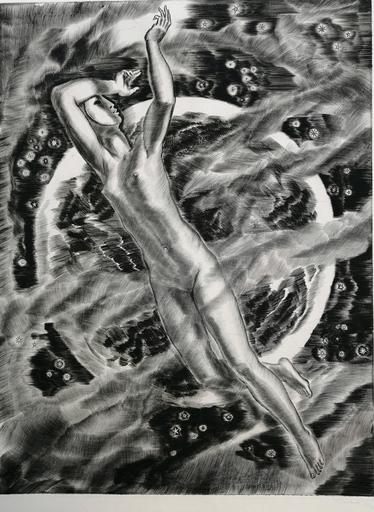 Albert DECARIS - Grabado - La Lune