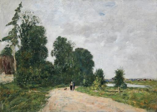 Eugène BOUDIN - Peinture - Chemin animé, bord de rivière