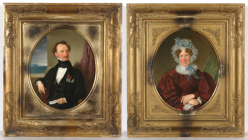 """Wilhelm August RIEDER - 绘画 - Wilhelm August Rieder """"Diplomat and his mother"""" 2 paintings"""