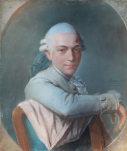 Pierre Martin BARAT - Dibujo Acuarela - Portrait de gentilhomme
