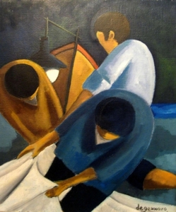 Tullio DE GENNARO - 绘画 - Night Fishing