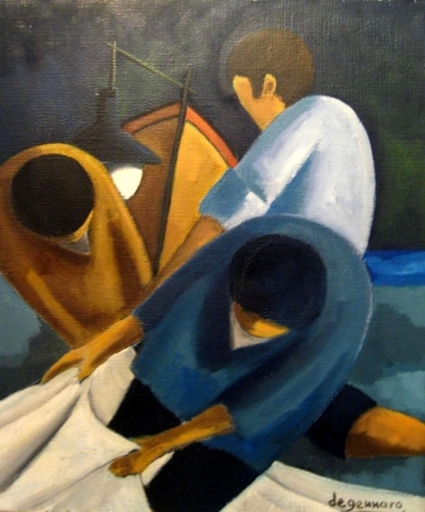 Tullio DE GENNARO - 绘画 - Night Fishing