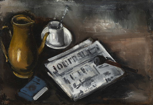 Maurice DE VLAMINCK - Peinture - Nature morte au journal