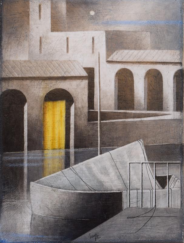 Marcello SCUFFI - Pintura - Quasi notturno di luna - Portocanale