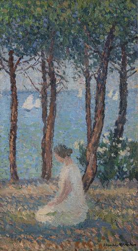 Henri MARTIN - Gemälde - Femme dans le parc