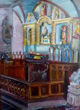 Anne DE LARMINAT - Painting - Guimiliau retable du rosaire