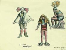 Roland TOPOR - Dibujo Acuarela - Hommes domestiques