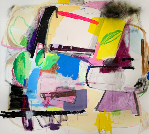 Yevgen LISNIAK - Painting -  The One With Breaking News (Abstract painting)