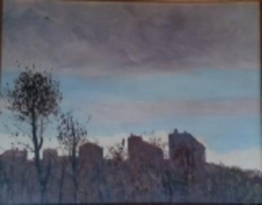 Renato VERNIZZI - Pintura - Paesaggio con case e alberi contro luce,