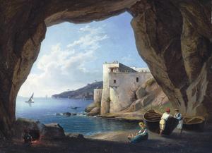 Franz Ludwig CATEL - Painting - Blick aus einer Grotte auf die Halbinsel Posilippo b. Neapel