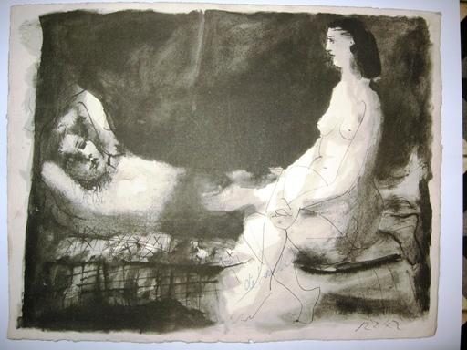 Pablo PICASSO - Estampe-Multiple - Homme couché femme assise t