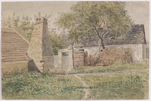 """Gustav BARBARINI - Drawing-Watercolor - Gustav Barbarini (1840-1910), """"Village Motive"""""""