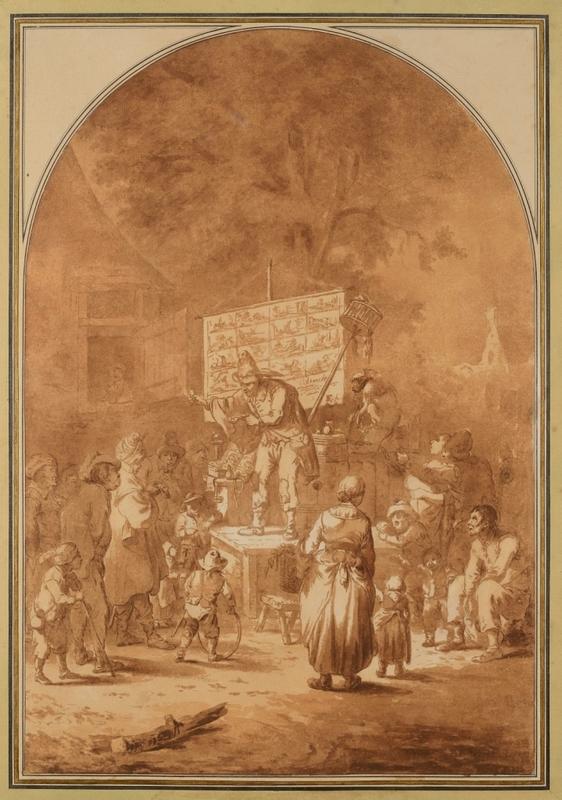 Cornelis DUSART - Disegno Acquarello - Le charlatan