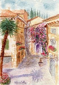 Valerio BETTA - Drawing-Watercolor - Scorcio di Sirmione_ Sirmione Garda lake