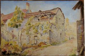 Armand-Alexis LARROQUE - Drawing-Watercolor - LA VIEILLE FERME A FOURNAYRAC PRES DE FIGEAC (LOT)