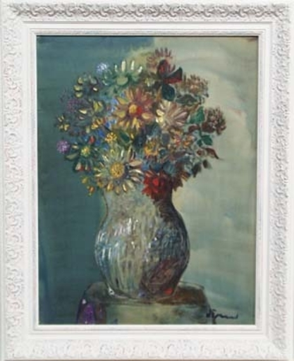 "Sylvain VIGNY - Pittura - ""Flowers in Vase"" by Silvain Vigny, 20th Century"