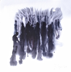 Philippe COGNÉE - Drawing-Watercolor - Foule