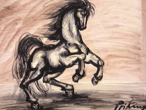 Franz PRIKING - Pittura - Cheval cabré