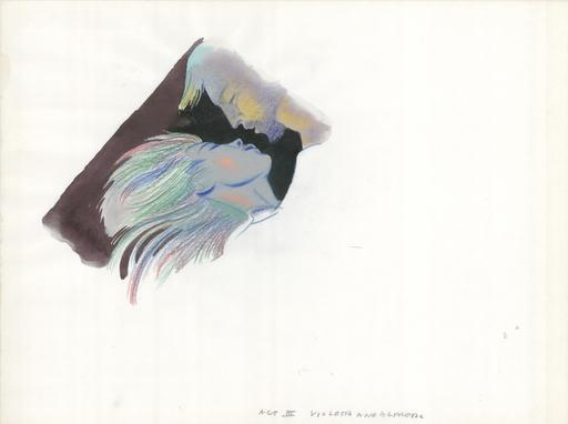 Milton GLASER - Disegno Acquarello - Violetta and Alfredo - Act III