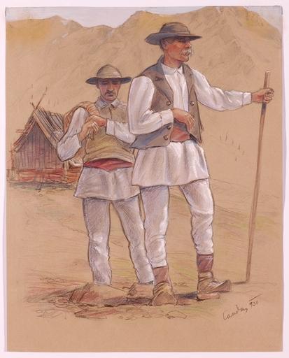 "Hubert LANDA - Dessin-Aquarelle - ""Slovaks"", Drawing, 1930"
