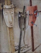 Jean LAMBERT-RUCKI - Disegno Acquarello - Composition aux masques
