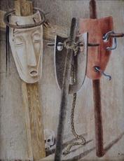 Jean LAMBERT-RUCKI - 水彩作品 - Composition aux masques