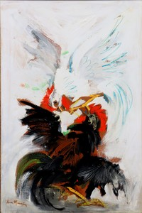 """Antonio URIA MONZON - Painting - """"COMBAT DE COQS"""""""