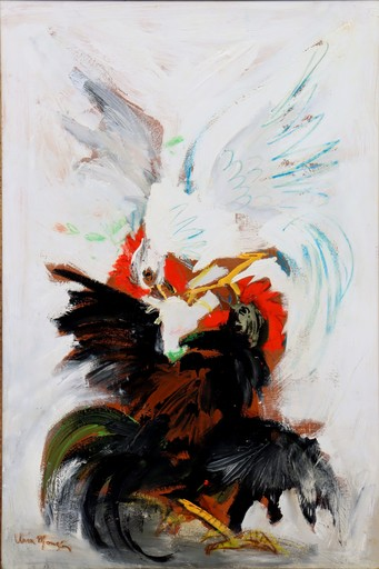 "Antonio URIA MONZON - Pintura - ""COMBAT DE COQS"""