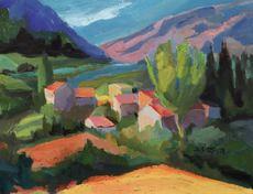 Marie ASTOIN - Painting - Hameau de Valaury (Var)