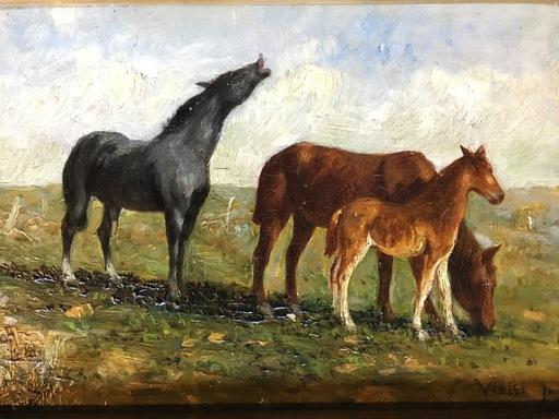 János VISKI - Painting - Caballos
