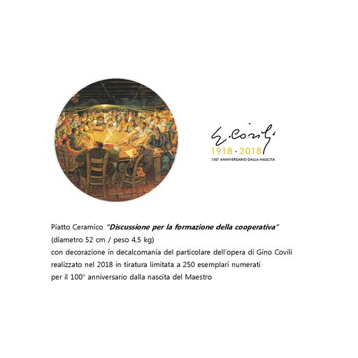 """Gino COVILI - Ceramic - Piatto Ceramico """"DISCUSSIONE PER LA FORMAZIONE DELLA COOP."""""""