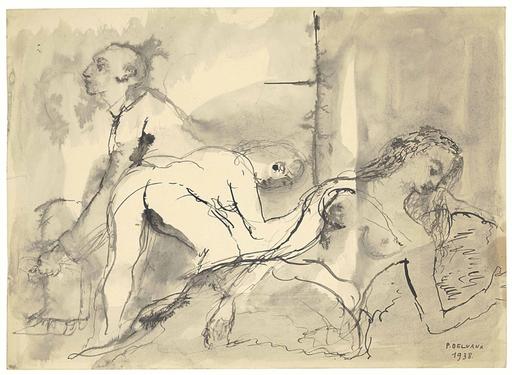 Paul DELVAUX - Drawing-Watercolor - Le Visiteur