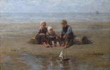 Jozef ISRAELS - Pintura - Three Children by the Beach