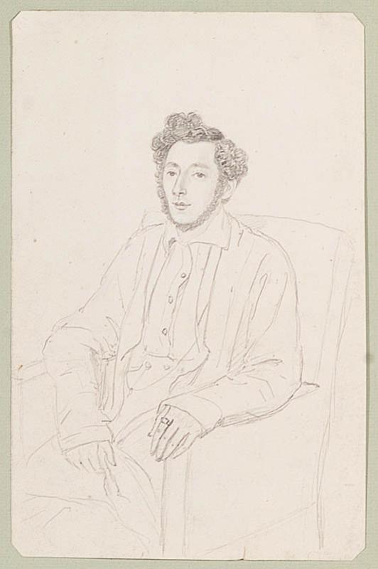 "Hermann GIESEL - Zeichnung Aquarell - ""Male Portrait"", 19th/20th Century"