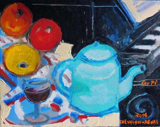 Jean-Pierre CHEVASSUS-AGNES - Peinture - pommes, verre de vin, théière et piano