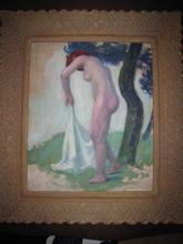 Paul MADELINE - Painting - NU ROUX  A LA DRAPERIE BLANCHE