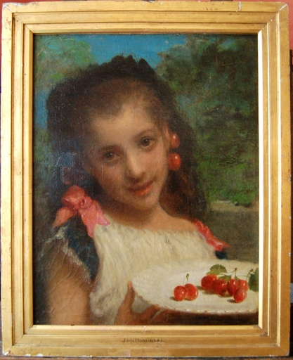John MORGAN - Painting - Jeune fille aux cerises