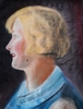 Richard GEIGER - Dibujo Acuarela - Blond Hair Woman from Profile