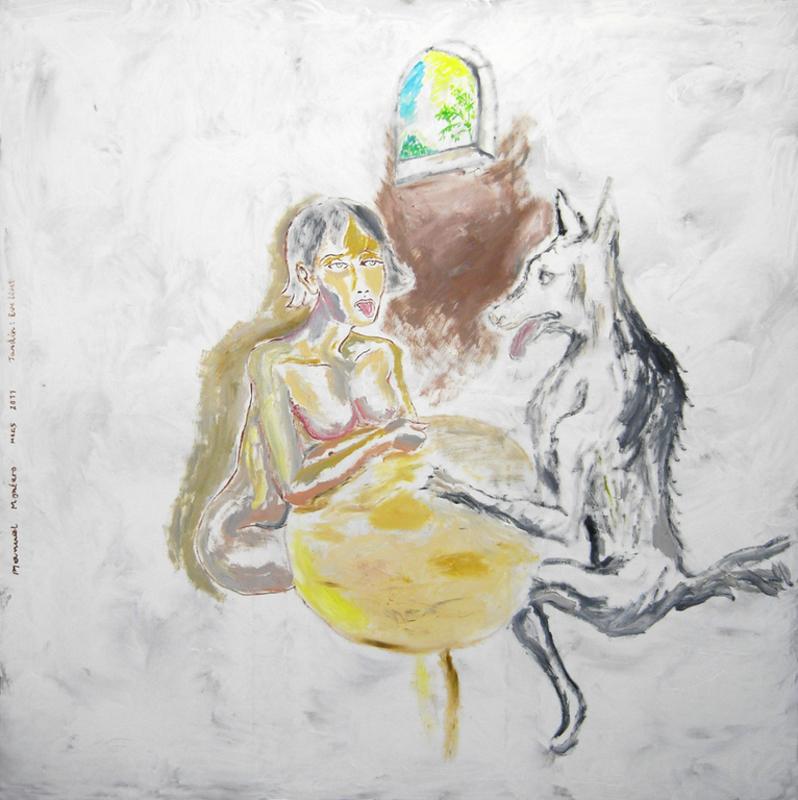 Manuel MONTERO - Peinture - Le loup à la terrasse