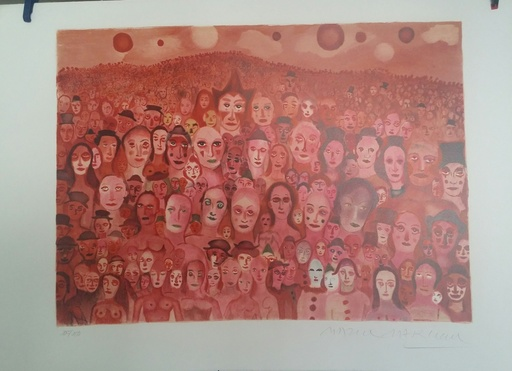 "Marcel MARCEAU - Druckgrafik-Multiple - ""The Crowd (The Third Eye)"""