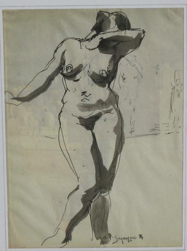 André Albert Marie DUNOYER DE SEGONZAC - Dibujo Acuarela - nu féminin